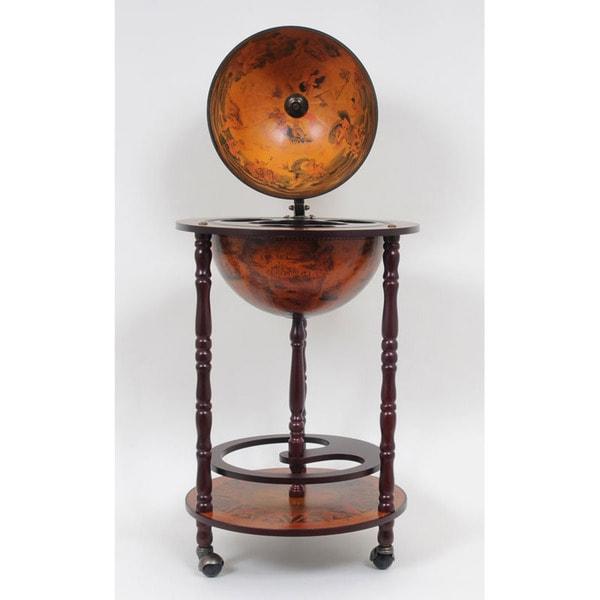 Red Nautical Globe Bar Table