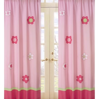 Pink and Green Flower 84-inch Curtain Panel Pair