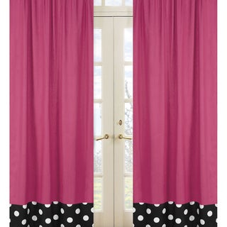 Sweet Jojo Designs Hot Pink, Black and White 84-inch Window Treatment Curtain Panel Pair for Hot Dot Collection