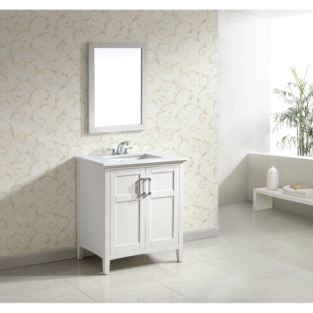 WyndenHall Salem White 30-inch Two-Door White Marble Top Bathroom Vanity Set at Sears.com
