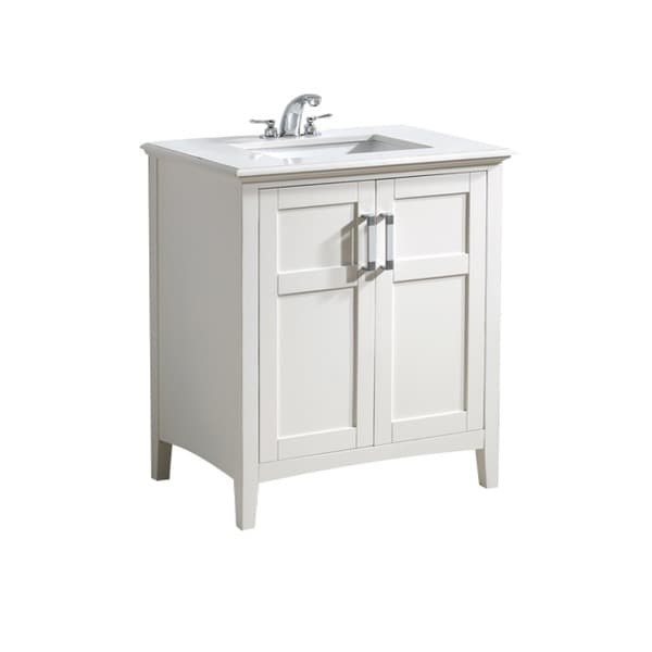 salem white 30 inch 2 door white quartz marble top
