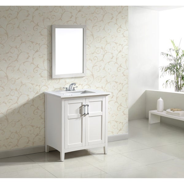 WYNDENHALL Salem White 30-inch 2-door White Quartz Marble Top Bathroom Vanity Set