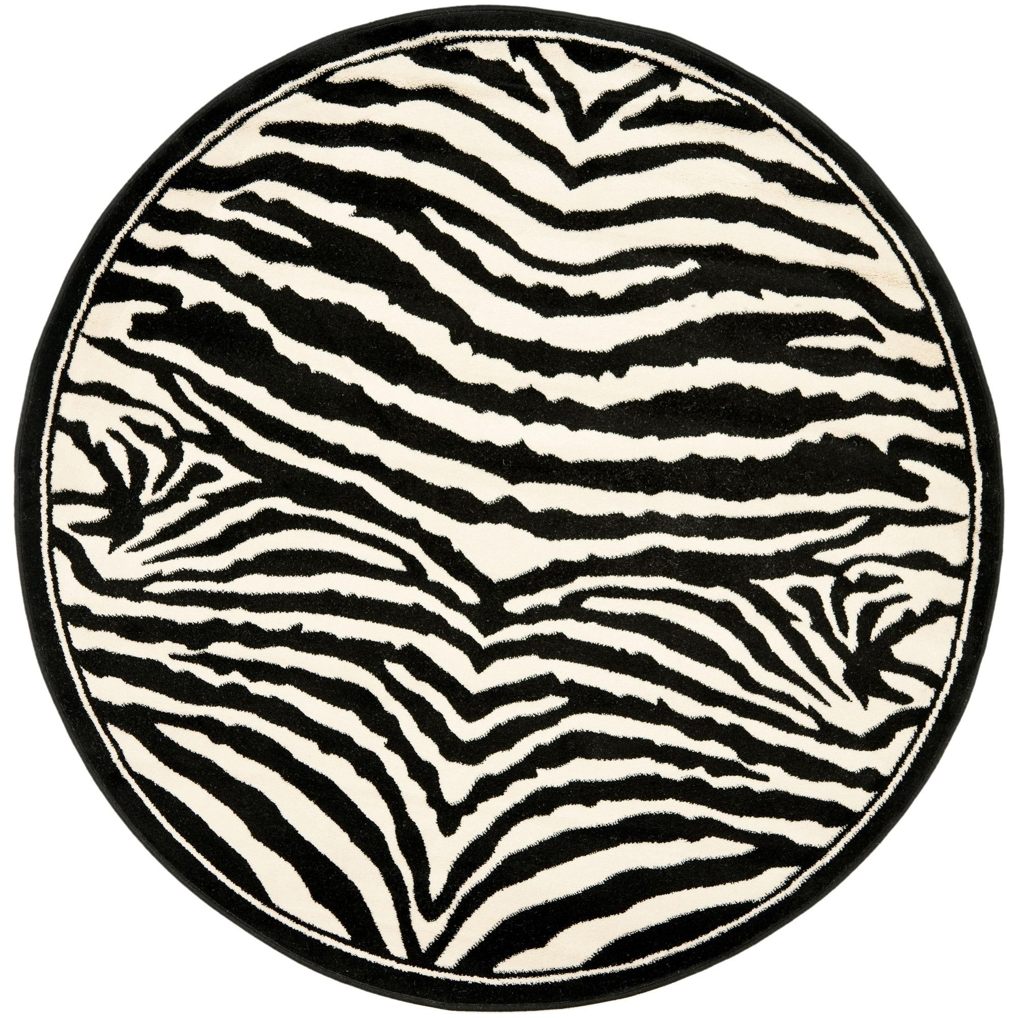 Safavieh Lyndhurst Zebra White/ Black Rug (4 Round)