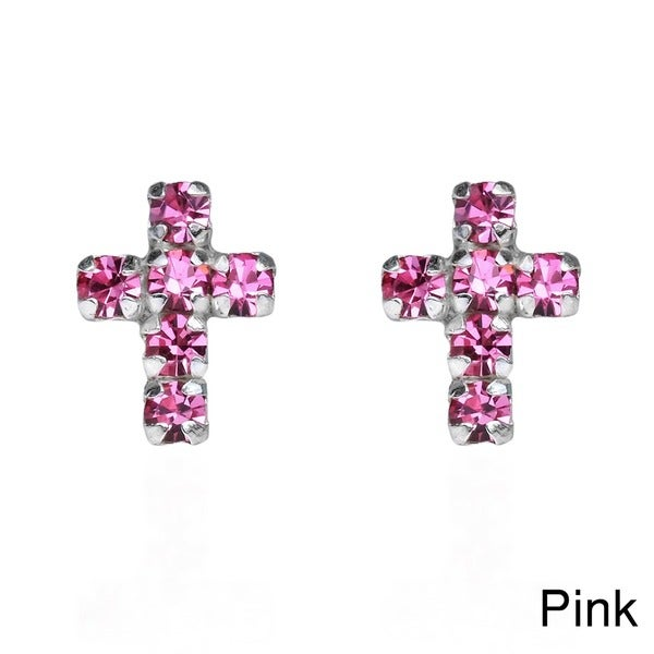 Sterling Silver Petite Cross Cubic Zirconia Stud Earrings (Thailand)