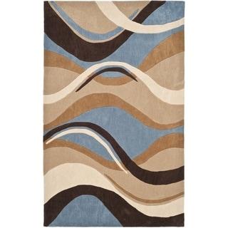 Handmade Avant-garde Waves Blue Rug (9' x 12')