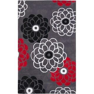 Handmade Avant-garde Daisies Dark Grey Rug (9' x 12')