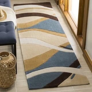 Safavieh Handmade Avant-garde Waves Blue Rug (2'6 x 10')