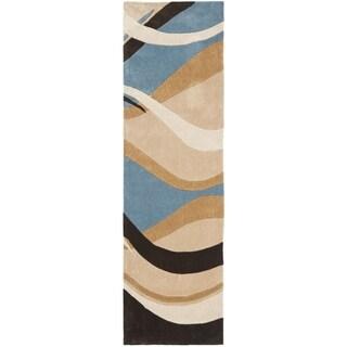 Safavieh Handmade Avant-garde Waves Blue Rug (2'6 x 12')