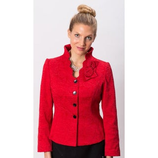 Grace Gallo New York Women's 'Katie' Red Mandarin Collar Formal Jacket