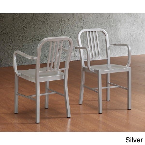 Powder-coated Steel Arm Chairs (Set of 2)