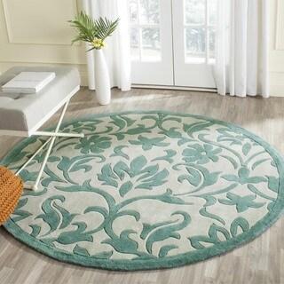Safavieh Handmade Avant-garde Floral Scrolls Ivory/ Blue Rug (7' Round)