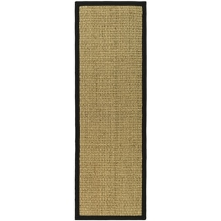 Hand-woven Sisal Natural/ Black Seagrass Rug (2' 6 x 20')
