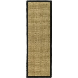 Hand-woven Sisal Natural/ Black Seagrass Rug (2' 6 x 22')