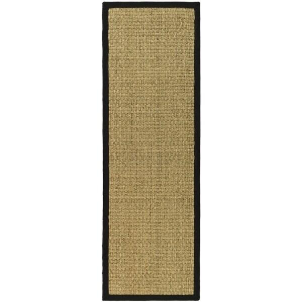 Safavieh Casual Natural Fiber Natural and Black Border Seagrass Runner (2' 6 x 22')