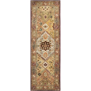 Handmade Mahal Beige New Zealand Wool Rug (2'6 x 20')