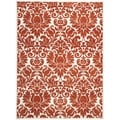 Porcello Damask Ivory/ Red Rug (6' 7 x 9' 6)
