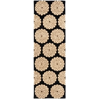Handmade Rodeo Drive Floral Black/ Ivory Wool Rug (2'6 x 12')