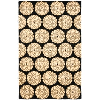 Handmade Rodeo Drive Floral Black/ Ivory Wool Rug (8' x 11')