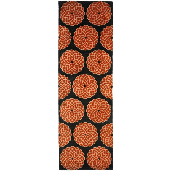 Safavieh Handmade Rodeo Drive Floral Black/ Rust Wool Rug (2'6 x 12')