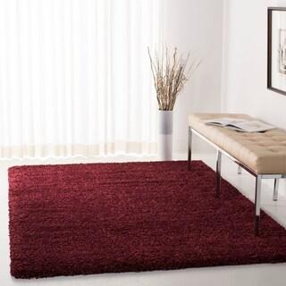 Safavieh Cozy Solid Maroon Shag Rug (5'3 x 7'6)