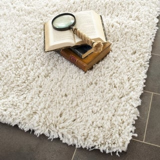 Hand-woven Bliss Off-white Shag Rug (9' x 9')