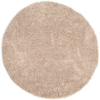 Hand-woven Bliss Taupe Shag Rug (8' Round)