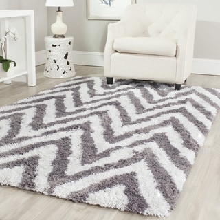 Safavieh Hand-made Chevron Ivory/ Grey Shag Rug (8' x 10')