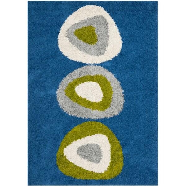 Safavieh Deco Quad Blue Shag Rug (5'3 x 7'6)