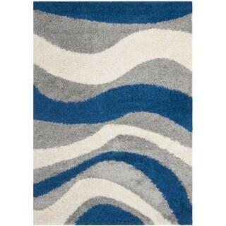 Deco Waves Blue Shag Rug (3' x 5')