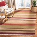 Tapestry-woven Striped Kilim Village Red Wool Rug (4' x 6')