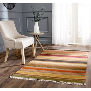 Tapestry-woven Striped Kilim Village Gold Wool Rug (9' x 12')