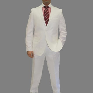 Angelino Litrico by Ferrecci Men's White Linen Blend Two-piece Two-button Suit
