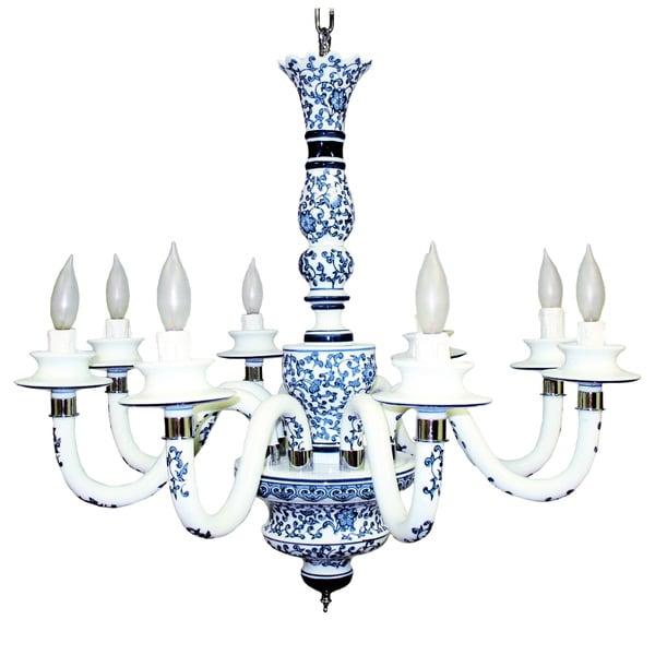 Blue Garden Ceramic 8-light Chandelier