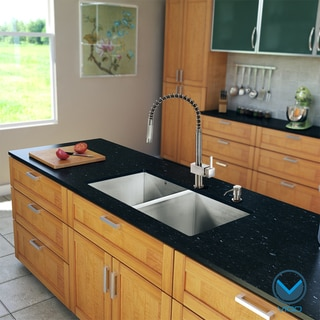 VIGO All-in-one 32-inch Undermount Steel 2-bowl Sink and Faucet Set