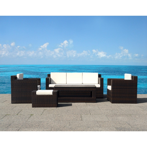 Outdoor Wicker Sofa Set Roma Contemporary Patio Furniture 15128162 Overst