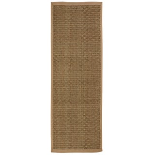 Windjammer Basketweave Seagrass Rug with Khaki Cotton Border (2'6 x 8')