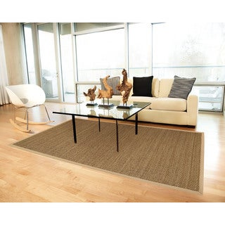 Tidewater Herringbone Seagrass Rug with Khaki Cotton Border (9' x 12')