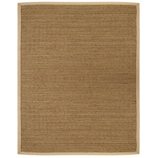Tidewater Herringbone Seagrass Rug with Khaki Cotton Border (5' x 8')
