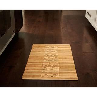 "Jani Oolong Natural Brown Bamboo Striped Mat - 1'8"" x 2'8"""