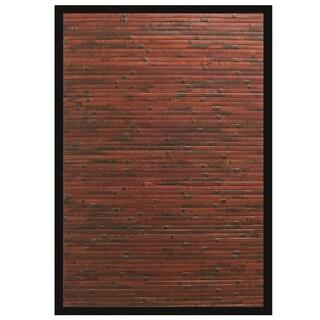 Apyan Mahogany Bamboo Rug with Black Border (6' x 9')