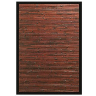 Apyan Mahogany Bamboo Rug with Black Border (6' x 9')