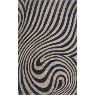 Hand-tufted Chaska Dark Blue Abstract Design Wool Rug-(8' x 10')