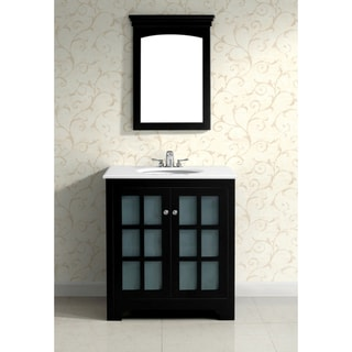 Louisiana Black 30-inch Bath Vanity with 2 Doors and White Marble Top