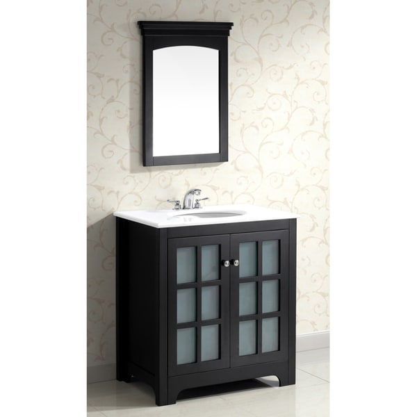 Louisiana black 30 inch bath vanity with 2 doors and white marble top