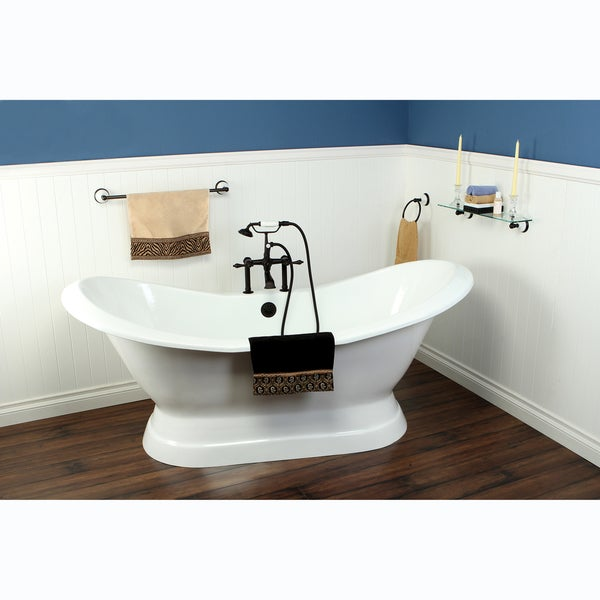 Double Slipper Cast Iron 72-inch Pedestal Bathtub with 7-inch Drillings