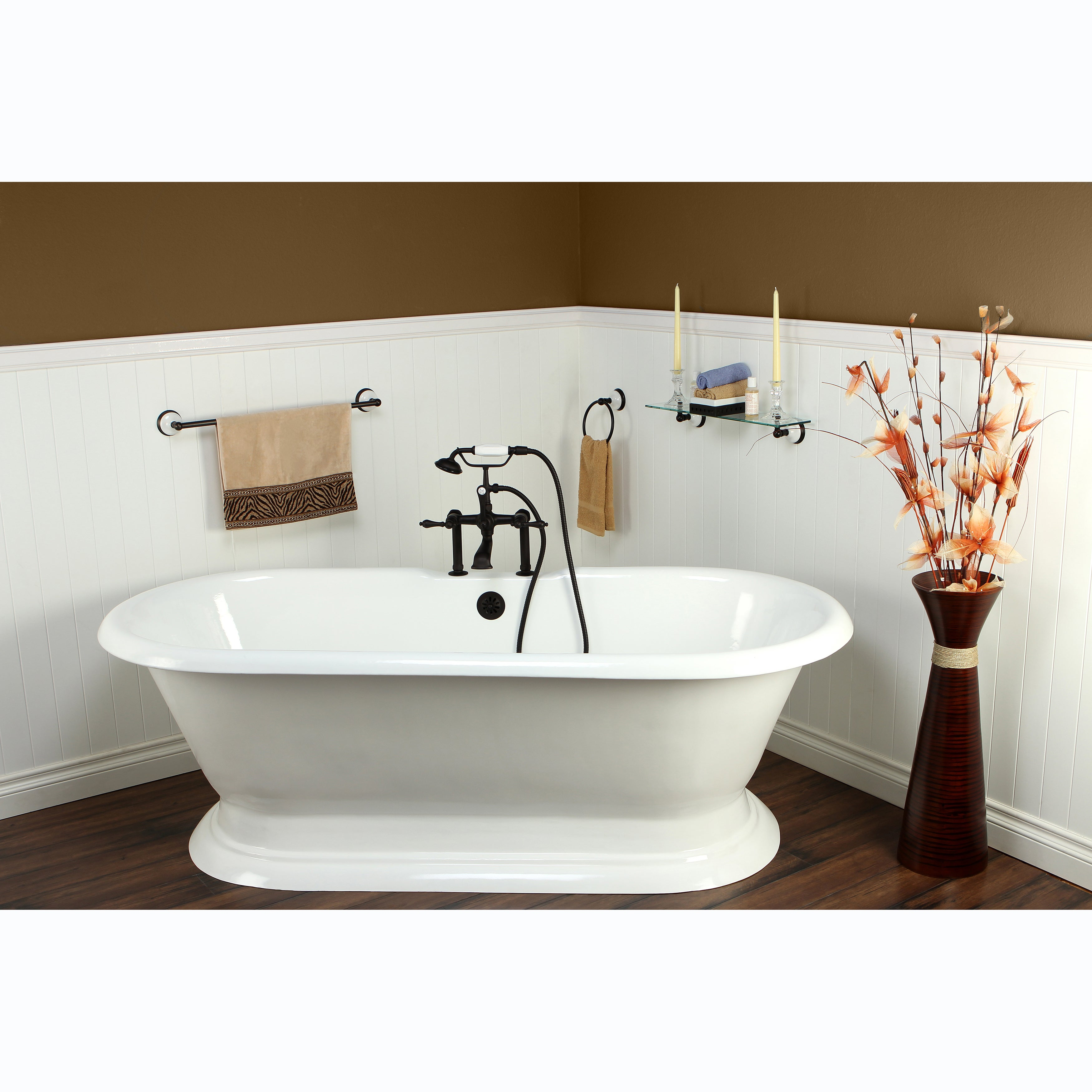 Double-ended Cast Iron 72-inch Pedestal Bathtub with 7-inch Drillings ...