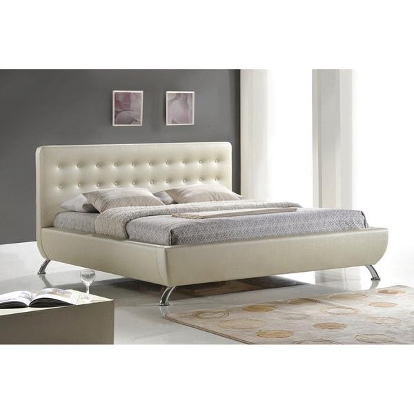 Baxton Studio Elizabeth Pearlized Upholstered Almond Modern Bed 10657750