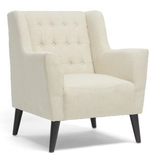 Baxton Studio Berwick Beige Linen Arm Chair
