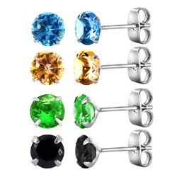 Sterling Silver Round Multi-faceted Colored Cubic Zirconia Earrings