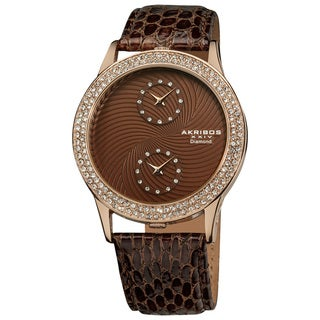 Akribos XXIV Women's Diamond Dual Time Swiss Quartz Brown Leather Strap Watch